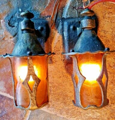2 Antique Mission, Arts and Crafts Sconce, crackle shades #1