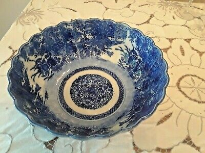 "Antique Japanese Meiji Period Large 11"" Blue & White Arita Imari Peacock Bowl"