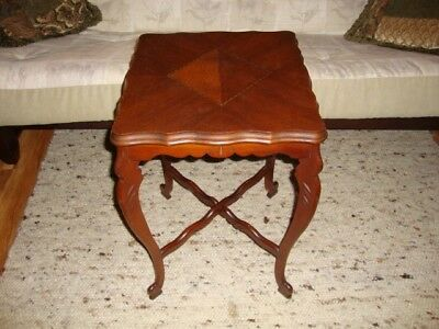 VERY RARE VTG Solid Walnut Hand Carved Inlaid Lamp / Side / End Table  C.1930s
