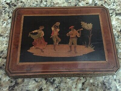Antique Sorrento Ware Italian Inlaid Wooden Plaque