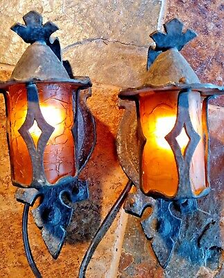 2 Antique Mission, Arts and Crafts Sconce, crackle shades #2
