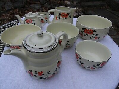 Lot of Hall's  Pottery Superior Kitchenware Red Poppy Teapot Sugar & cream bowls
