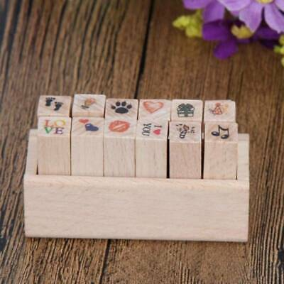 4pcs DIY Love Heart Flowers Diary Scrapbook Decoration Wooden Rubber Stamp U4Y1