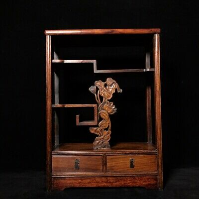 """20"""" Chinese old antique huanghuali wood handcarved louts flowers bo gu Shelves"""