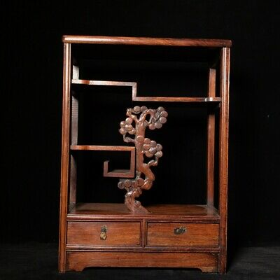 """20"""" Chinese old antique huanghuali wood handcarved pine tree bo gu Shelves"""
