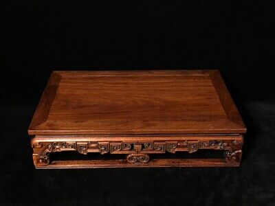 """17"""" Chinese old antique huanghuali wood handcarved Rectangle table statue B1"""