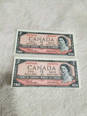 2 X 1954 Bank Of Canada Consecutive Notes--Out Of Register--Special Serials--Gem