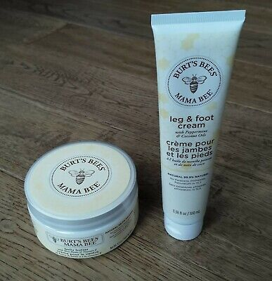 Burts Bees Mama Bee Belly Butter and Leg & Foot Cream - New Baby Mum Bundle