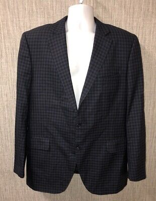 Peter Millar Mens Blue/Black Wool Cashmere 2 Button Sport Coat Size 44T