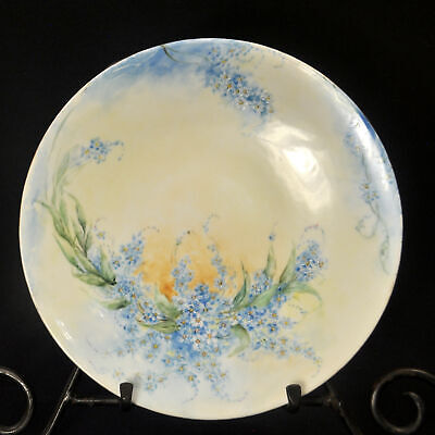 Limoges JPL Jean Pouyat Plate Hand Painted Janes Blue Forget Me Nots 1890-1932