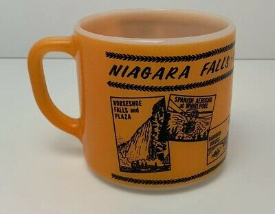 Vintage Coffee Mug Niagara Falls Canada Advertising Orange Federal Milk Glass