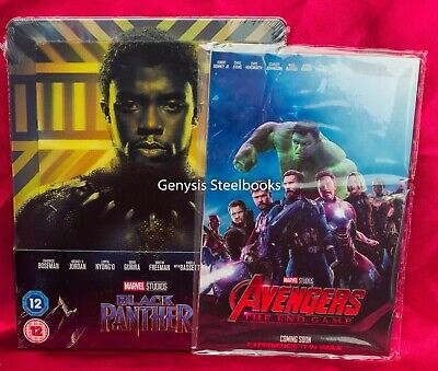 Black Panther 3D Lenticular Steelbook Blu-ray, Zavvi + Marvel Avengers Art Cards
