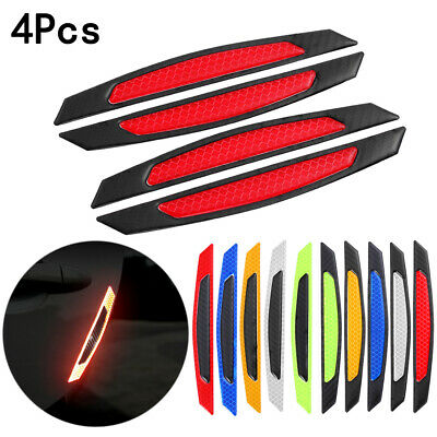 4Pcs 5D Carbon Fiber Car Door Reflective Strip Sticker Warning Mark Protector~