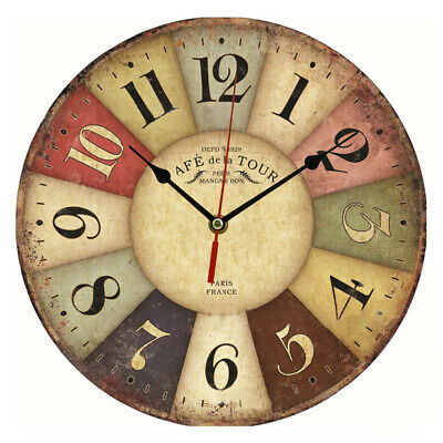 UK Vintage Rustic Wooden Wall Clock Antique Shabby Chic Retro Home Decoration