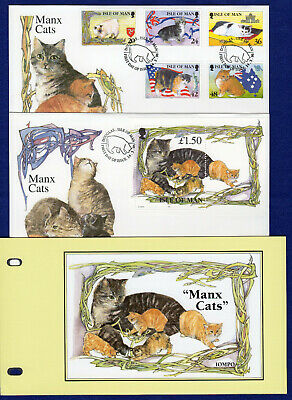 Isle of Man, IOM Manx Cats, 2x First Day Covers + Presentation Pack (Ref. t2373)