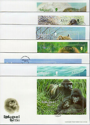 Guernsey, Endangered Species, First Day Covers x7, Wild Animals (Ref. t2375)