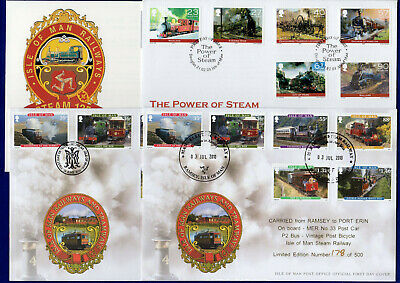 Isle of Man, IOM ,Steam, Railway 4x First Day Covers inc Limited Ed (Ref. t2372)