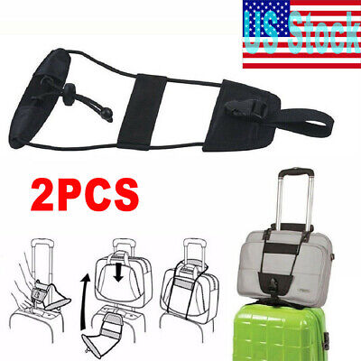 2PCS Bag Straps Travel Luggage Suitcase Adjustable Belt Carry On Bungee Easy