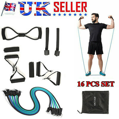 New Resistance Bands Workout Exercise Yoga 16 Piece Set Crossfit Fitness Tubes