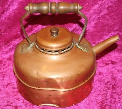 Old Vintage Bashed Copper Kettle With Wooden Handles, Made In England.