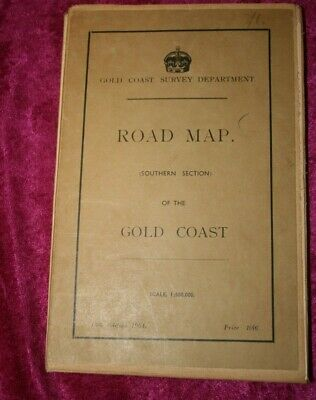 """Vintage 1954 Large (42"""" x 32"""") Road Map Of Southern Section of The Gold Coast."""