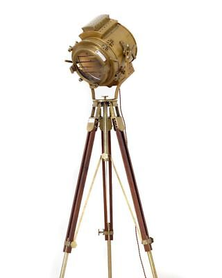 """Heavy Spotlight Vintage Brass Antique Finish Nautical Lamps 70"""" Adjustable Stand"""