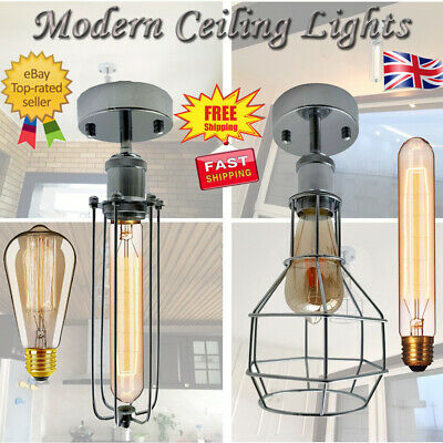 Modern Vintage Industrial Flush Mount Metal Black Scone Ceiling Light Shade UK