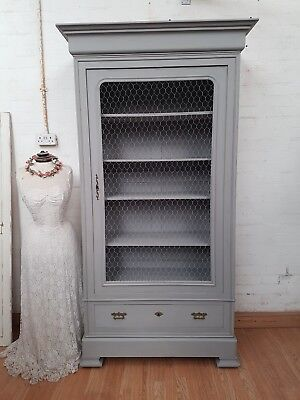 Charming Antique French Armoire Display Cupboard / Bookcase - C1900