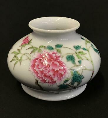 Chinese Antique Famile Rose Porcelain Ink Pot Qianlog Mark -Republic Period