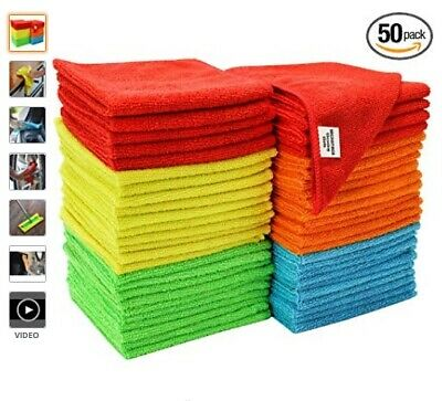 Microfiber Cleaning Cloth Set of 50 Towel Rag Car Polishing Detailing 50 packs