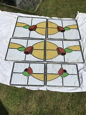 Antique Victorian Leaded Stained Glass Windows X6