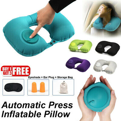 Inflatable Pillow Neck Head Rest Air Soft Travel Plane Camping Sleep Cushion Kit