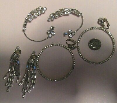 3 GORGEOUS Pair Clip On RHINESTONE EARRINGS!  One Large Ear Clip