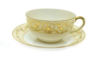 Vintage Noritake 17462 White Ivory Gold Cup and Saucer