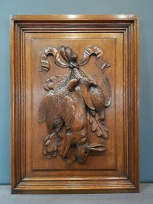 Rare Large Antique French Carved Oak Hunting Panel - Game Birds / Rabbit - C1880