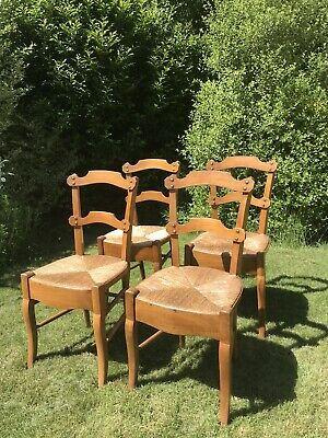 Set Of 4 Vintage Walnut Arts And Crafts Style Chairs with rush seating