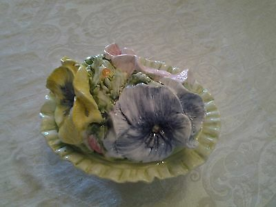 San Marco Nove Ceramic Raised Flower Design Covered Dish *Made In Italy*