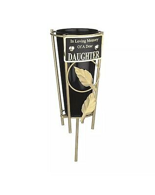 In Loving Memory DAUGHTER Black & gold Grave Memorial Vase Spike Metal