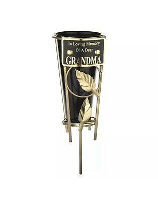 In Loving Memory GRANDMA Black & gold Grave Memorial Vase Spike Metal