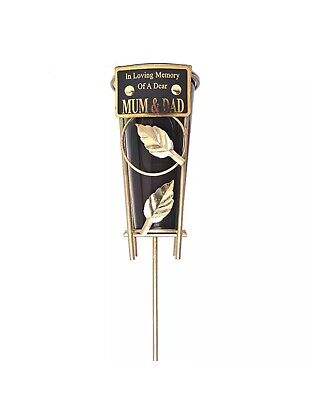 In Loving Memory MUM & DAD Black & gold Grave Memorial Vase Spike Metal