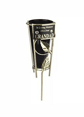 In Loving Memory GRANDAD Black & gold Grave Memorial Vase Spike Metal