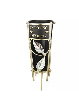 In Loving Memory Black & gold Grave Memorial Vase Spike Metal