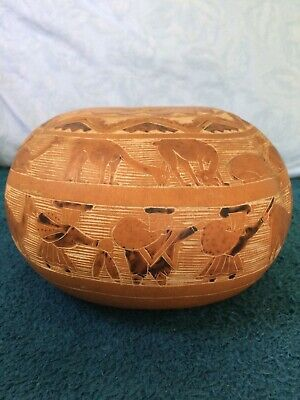 Hollowed Out Carved Nut Bowl With Camel Engravings
