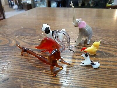 Collection 6 Hand Blown Murano Style Italian Glass Small Animals Birds Vintage