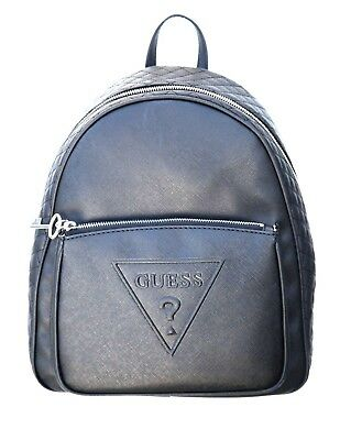 $118 GUESS Darin Quilted Backpack School Bag Sac Purse Black Lipstick Charms New