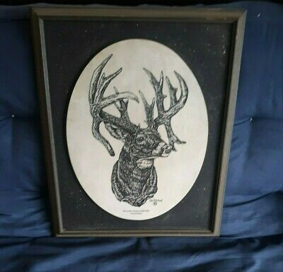 """Jim Tostrud Marble Whitetails Unlimited """"Watchful Eye"""" Framed 1996-1997"""