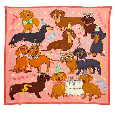 "Karen Mabon new Hot Dog birthday party 35/"" silk scarf UK DESIGNER hipster chic"