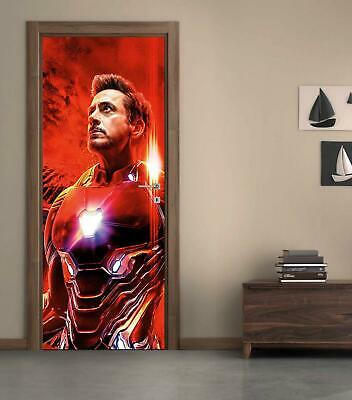 Iron Man Marvel Avengers Movie 3D DOOR WRAP Decal Wall Sticker Decor Mural D297