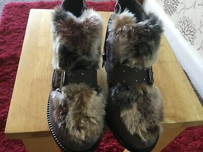 Girls Next Brown Faux Suede & Fur Zip Fastening Winter Ankle Boots Size 12
