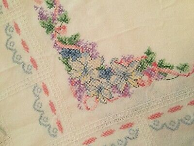 Vintage Cross-Stitched Tablecloth - Flowers -  Large